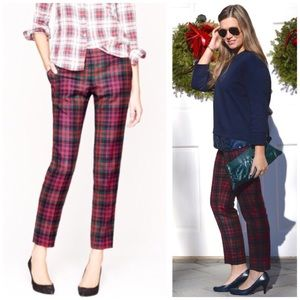J. CREW Red Tartan Plaid Wool Cafe Capri Pants